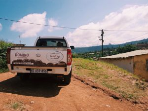 The Feeding delivery truck in the hills of Amaoti.